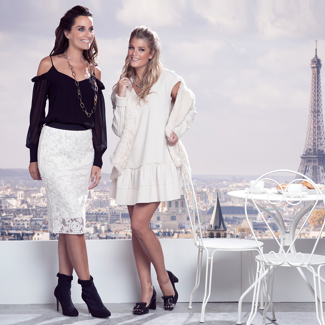 twinset, ecru, black, girly, paris